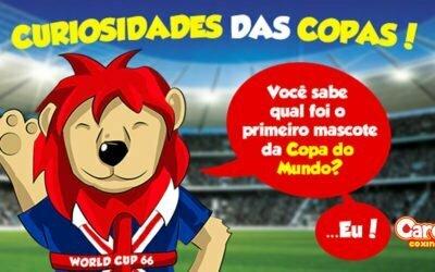 A primeira Copa do Mundo de Futebol a ter um mascote foi a de 1966, na Inglaterra. Era um leãozinho chamado Willie.