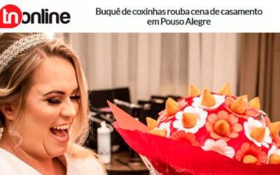 Buquê de coxinhas rouba cena de casamento em Pouso Alegre