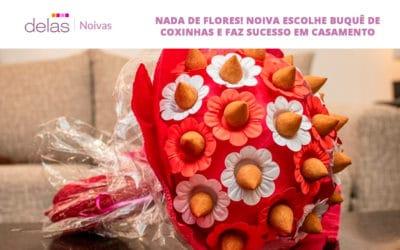 Nada de flores! Noiva escolhe buquê de coxinhas e faz sucesso em casamento