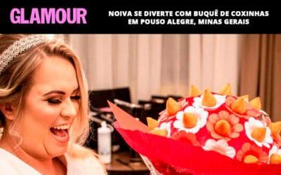 Noiva se diverte com buquê de coxinhas em Pouso Alegre, Minas Gerais